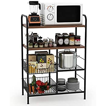 Tribesigns Kitchen Baker's Rack, 4-Tier Utility Storage Shelf, Microwave Oven Stand Rack with Wire Basket for Spice Rack Organizer Workstation