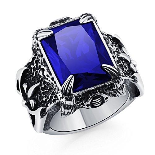Dragon Gemstone Ring - DALARAN Men's Vintage Dragon Claw Ring 316L Stainless Steel Gothic Rings with Blue Gemstone Size 9