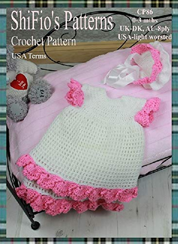 Crochet Pattern Cp86 Scalloped Baby Dress And Hat 0 3mths