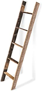 BarnwoodUSA Rustic Farmhouse Blanket Ladder - Our 5 ft Ladder can be Mounted Horizontally or Vertically and is Crafted from 100% Recycled and Reclaimed Wood | No Assembly Required