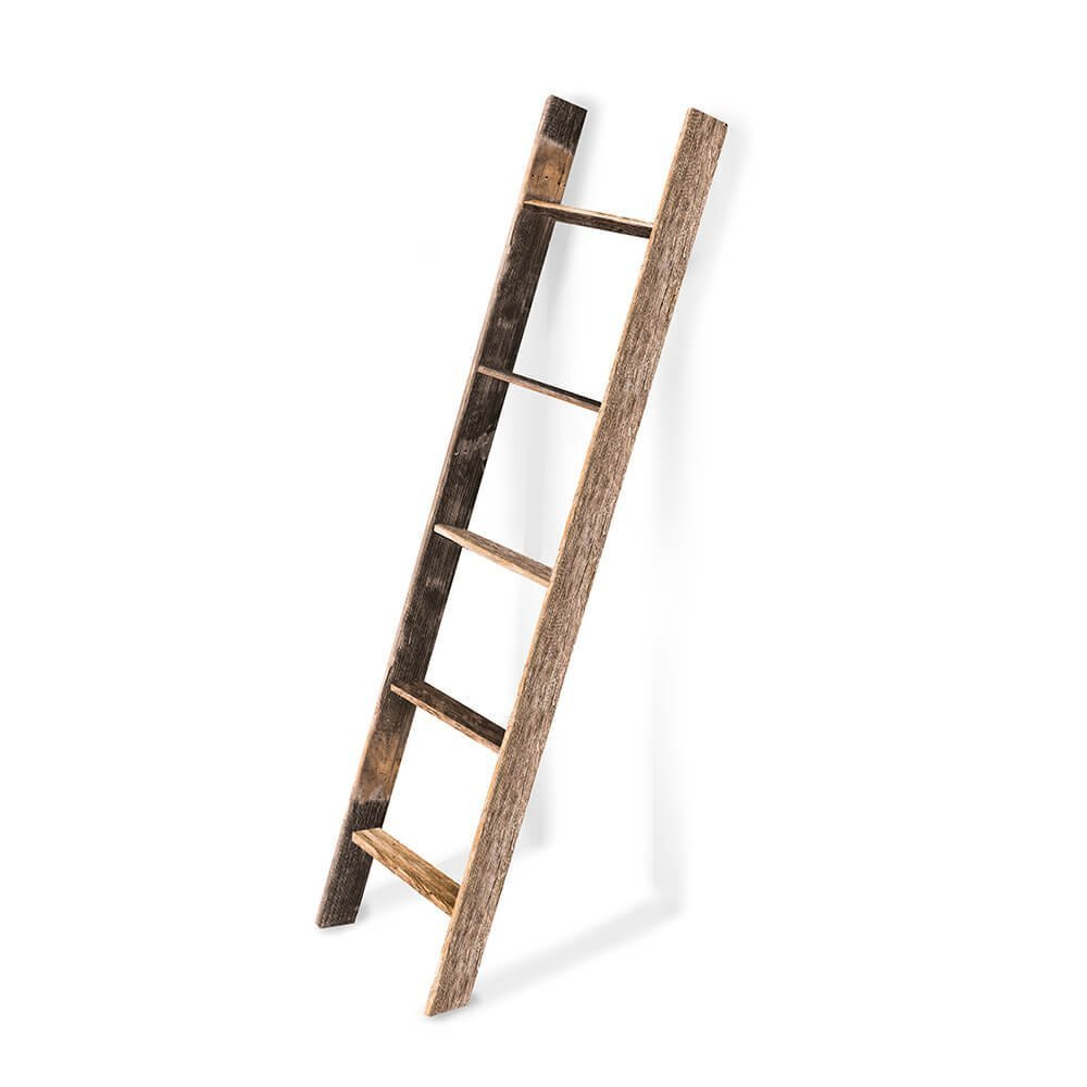 BarnwoodUSA Rustic Farmhouse Blanket Ladder - Our 5 ft Ladder can be Mounted Horizontally Vertically is Crafted From 100% Recycled Reclaimed Wood | No Assembly Required