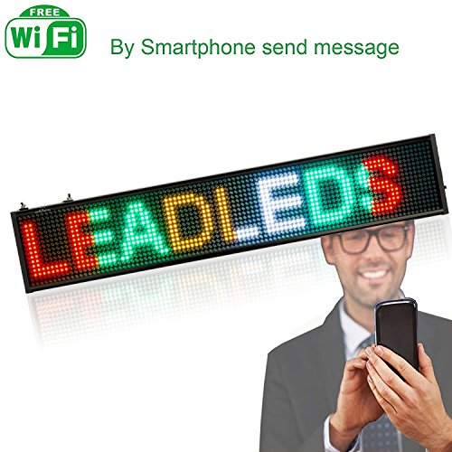 Leadleds Innovation WiFi LED Sign Programmable RGYW Electronic Message Board for Home Decoration Business Open Sign, (Amber Led Window Sign Displays)