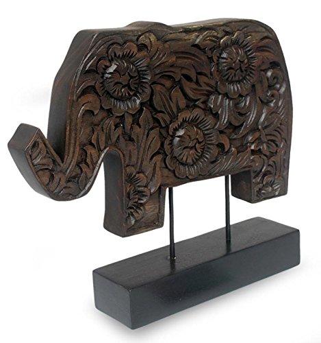 NOVICA 184339 Blossoming Elephant Wood Sculpture