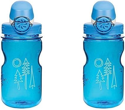 Water Bottle Grey//Blue Squares Nalgene Kids On the Fly 12 oz