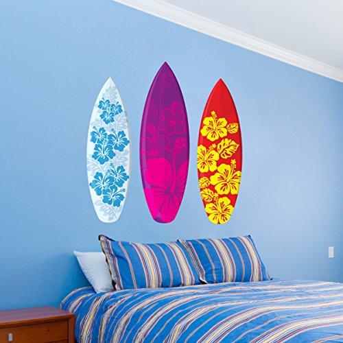 - Surfboards Aloha Design Set of 3 Wall Decal - 26