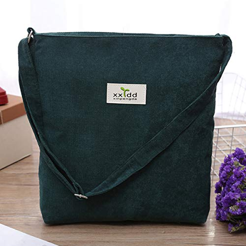 Women's Bag Handbags Messenger Green Bag Fanspack Casual Tote Crossbody Lightweight Corduroy Purse Canvas Shoulder pqHZqxS