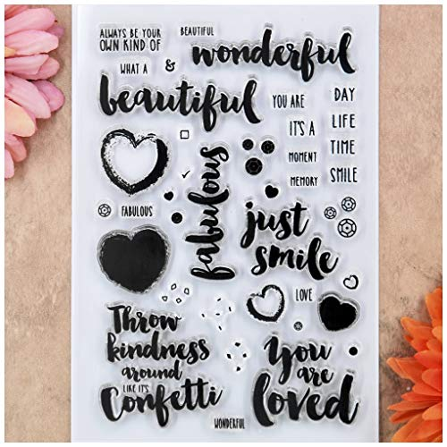 - Kwan Crafts Word Wonderful Beautiful just smile Heart Love Clear Stamps for Card Making Decoration and DIY Scrapbooking