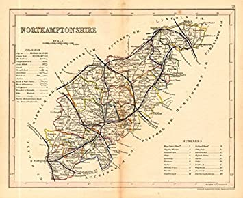 Amazoncom NORTHAMPTONSHIRE map by ARCHER DUGDALE Seats canals