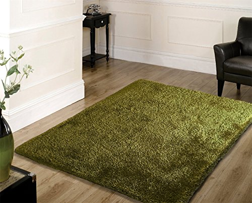 Vibrant Captivating Modern Hand Tufted Shaggy Area Rug Featuring A Solid Shade Of Hunter Green Exact Size 4 Feet By 5 Feet 4 Inches 4x6(SVS)HunterGreen ()
