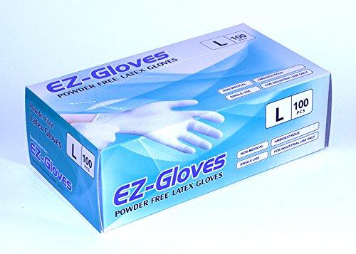 EZ手袋パウダーフリーラテックス手袋(パックof 100 ) L B01JVKS7ZO  L