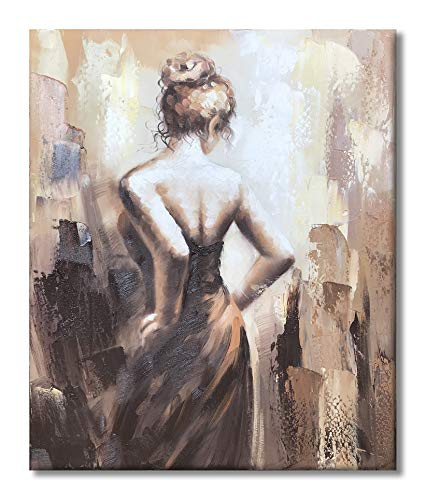 Paimuni Modern Oil Paintings 100% Hand Painted Figurative Lady Canvas Wall Art Stretched and Framed Ready to Hang Home Décor (NG4, ()