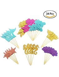 34pcs Glitter Mermaid Theme Cupcake Toppers Cake Decoration Baby Shower Birthday Party Favors, Including Mermaid, Seahorse, Starfish, Fishtail,Shell