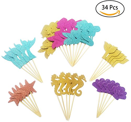 Price comparison product image 34pcs Glitter Mermaid Theme Cupcake Toppers Cake Decoration Baby Shower Birthday Party Favors,  Including Mermaid,  Seahorse,  Starfish,  FishtailShell