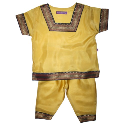 Diwali Baby Indian Infant Girls Outfit - 100% Silk - Buttercup - 3-6 Months