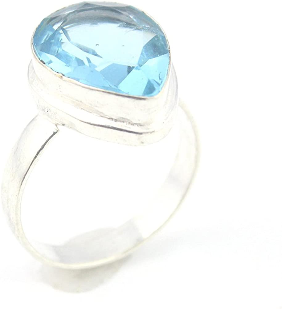 HIGH FINISH BLUE QUARTZ FASHION JEWELRY .925 SILVER PLATED RING 9 S23992