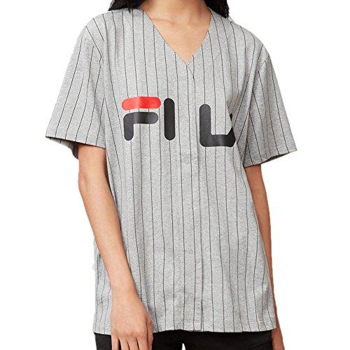 Fila Women's Lacey Baseball T-Shirt, Grey Heather, Black, Chinese Red, L