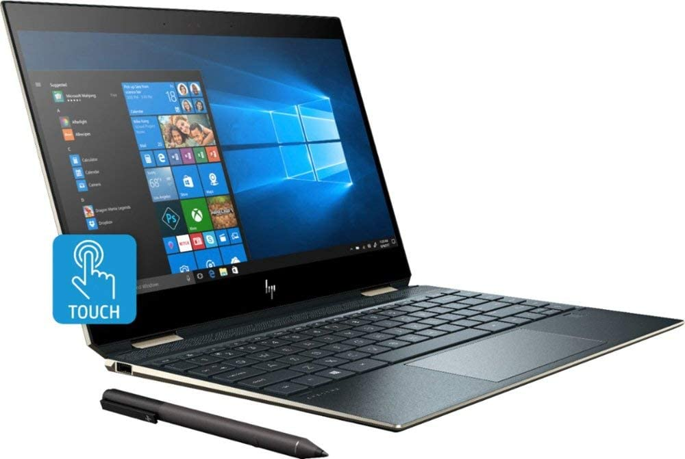 "2019 HP Spectre x360 13t Gem Cut with 13.3"" 2 in 1(i7-8565U, 16GB, 512GB PCI NVMe SSD, FHD IR Cam, HP Pen, 3 Yrs McAfee Internet Security, Windows 10 PRO Upgrade, HP Worldwide Warranty, Poseidon Blue"