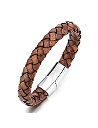 Vintage Brown Braided Leather Bracelet, Men Women Leather Bangle Wristband Steel Magnetic Clasp