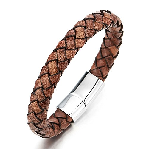 Vintage Brown Braided Leather Bracelet Mens Women Leather Bangle Wristband with Steel Magnetic Clasp