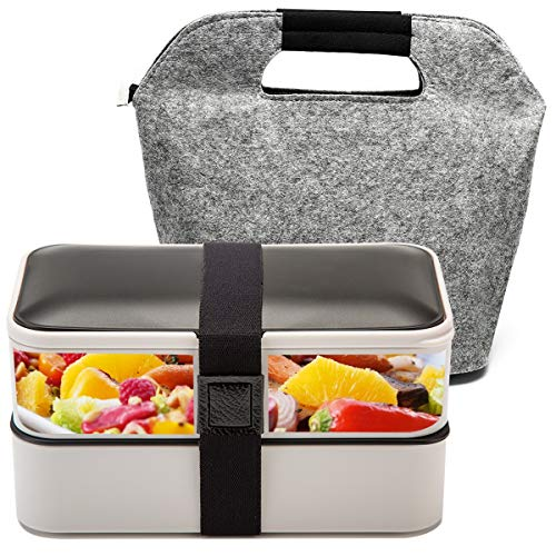 Fun Life Bento 2 Lier Lunch Box, 1200ML Food Storage Container, Stackable Meal Prep with Cutlery and A Insulated Bag, Leakproof, Dishwasher, Microwave Safe, Silver (Containers Bags With Lunch)