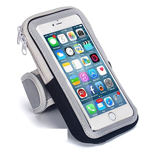 Sports Armband Cell Phone Holder Case Arm Band Strap with Zipper Pouch/Mobile Exercise Running Workout for Apple iPhone 6 7 8 iPod Touch Android Samsung Galaxy S7 S8 Edge LG HTC Pixel (Black)
