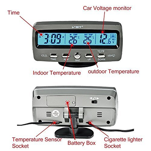 4 in 1 Car Indoor Outdoor Temperature Hour LCD Display Freeze Alert Blue and Orange Backlight Dc 12v Auto Gauges