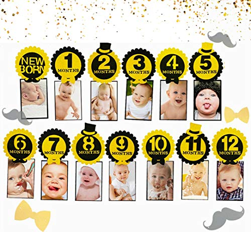 JeVenis Glitter First Birthday decorations Black and Gold 1st Birthday Banner Mr Onederful Photo Banner ONEderful Banner First Birthday Decorations