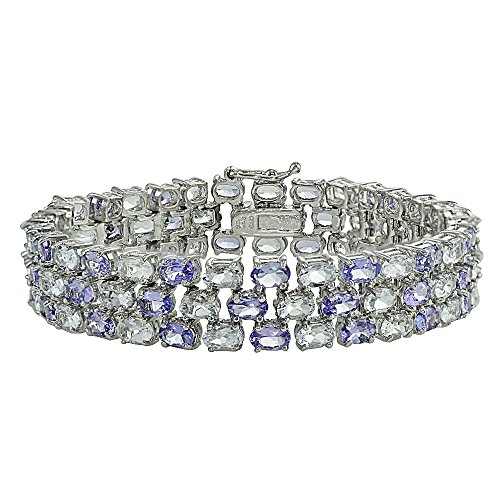 Sterling Silver Tanzanite and Aquamarine Three-tier Bracelet by Ice Gems