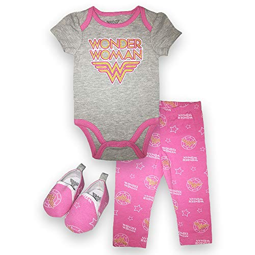(Wonder Woman Infant Clothing Set - Girls DC Comics Short Sleeve Bodysuit, Pants and Shoes (Pink/Grey, 3M-6M))