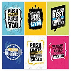 Set Of 6, 11x17 Inspirational Gym Posters | Motivational Fitness Wall Art For Home Gym Decorations | Bodybuilding Poster For Teens | Workout Prints With Motivation Quotes For Room Decor