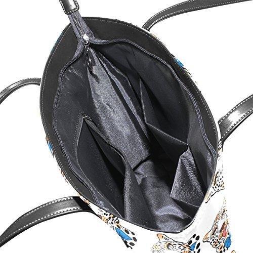 COOSUN Cute Leopard Muster PU Leder Schultertasche Handtasche und Handtaschen Tasche für Frauen