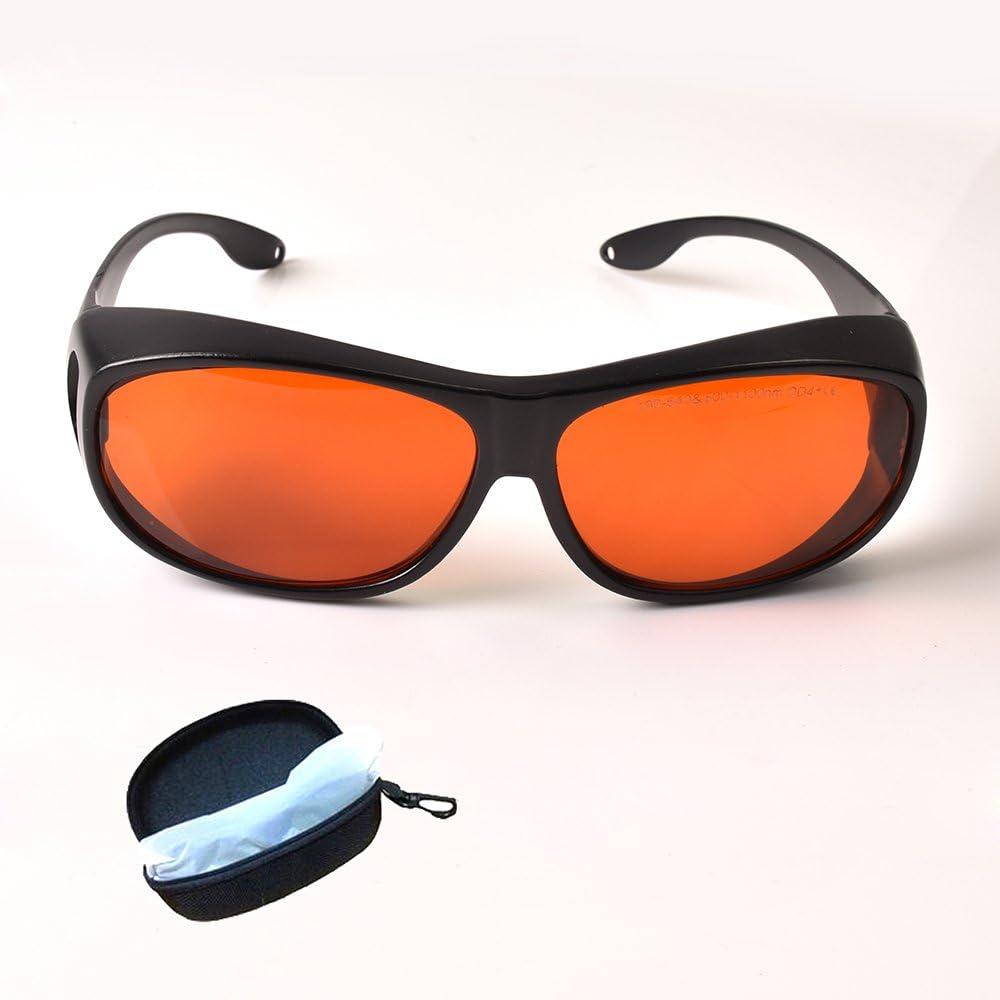 Gafas de seguridad láser para láser de 405 nm 450 nm 532 nm, protección completa 190 ~ 540 nm y 800 ~ 1100 nm IR láser infrarrojo 808 nm 980 nm 1064 nm UV láseres protección de ojos CE OD4 + VLT>30