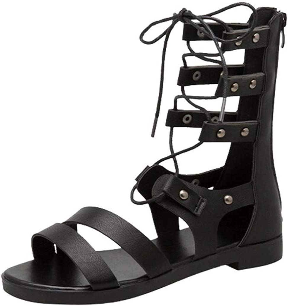 Nevera Newest Women Faux Leather Caged Gladiator Strappy Flat Sandals Roman Buckle Sandal for Ladies
