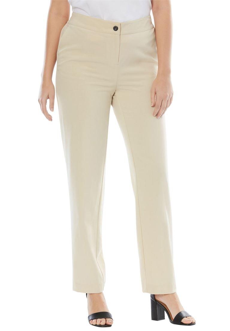 Jessica London Women's Plus Size Tall Straight Leg Bi-Stretch Pants Light