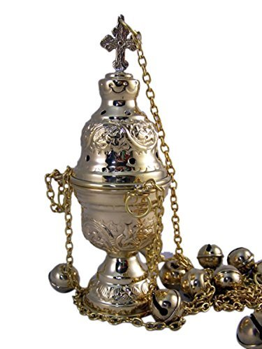 High Polished Brass Hanging Incense Burner with Bells, 8 Inch - incensecentral.us