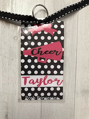 Cheerleading Bag Tags, Megaphone, Cheer Coach Gift, Cheer Coach Gift, Any Color Lettering, Custom Tag Measures 4.5