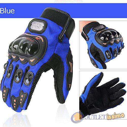 Enduro Azul OUTLETISSIMO/® Guantes de Moto Unisex con Piel sint/ética