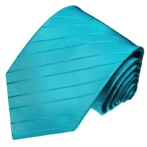 LORENZO CANA - Türkise Krawatte aus 100% Seide - Trend Farben - Türkis uni - 84371