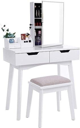 Havanadd-Home Juego de Mesa de tocador con Mesa de tocador de Maquillaje de Espejo sin Marco Grande para Dormitorio Organizador de Maquillaje (Color : Blanco, tamaño : 80 * 40 * 127cm): Amazon.es: Hogar