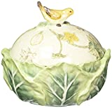 Fitz and Floyd 21-007 Fattoria Bird Knob covered dish, Green/Yellow