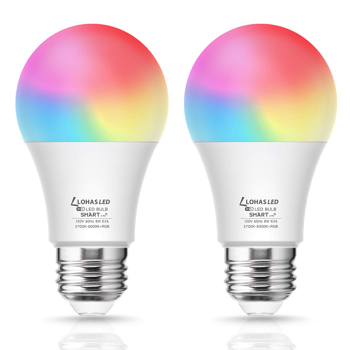 LED Smart Light Bulb 60W Equivalent, A19 LED Dimmable Daylight Warm 2000K-9000K Tunable White Works with Alexa, Google Assistant, Siri and IFTTT, NO Hub Required, RGB Color Changing E26 Bulb, 2 Pack