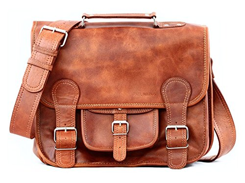 da4180b88d5d School Satchel (S) LIGHT Vintage Leather Satchel Shoulder Bag Unisex PAUL  MARIUS Vintage   retro  Amazon.co.uk  Shoes   Bags