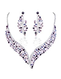 Ever Faith Austrian Crystal Wing Flower Necklace Earrings Set