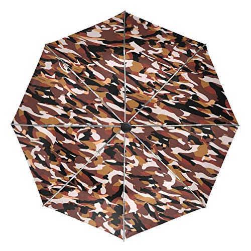 Military Camouflage Texture Compact Travel Inverted Umbrella, Outdoor Rain Sun Car Folding Reversible Umbrellas for Windproof, Reinforced Canopy, UV Protection, Ergonomic Handle, Auto Open/Close by Jereee