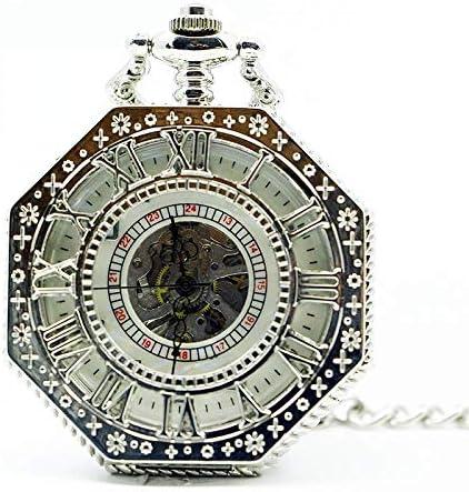 YXZQ懐中時計、ヴィンテージスケルトンスチームパンクメカニカルポリゴンホローブロンズシルバーチャイナペンダントクロックハンドウィンドレディースメンズ