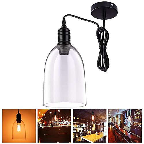 Yescom Hanging Bell Shaped Mouth-blown Transparent Glass Shade Vintage Pendent Fixture for Ceiling Lamp Lighting