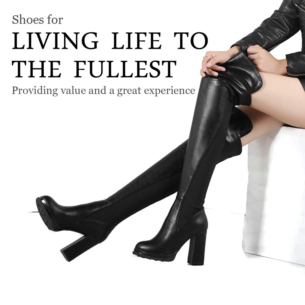 ShoeN Tale Women Comfortable Chunky Heel Round Toe Fur Lined Stretchy Over The Knee Boots
