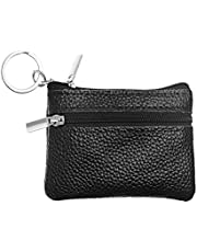 BCP Men's Soft Genuine Leather Zipper Coin Pouch Purse Change Wallet with Key Ring (Black)