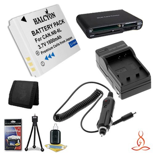 Halcyon 1600 mAH Lithium Ion Replacement NB-6L Battery and Charger Kit + Memory Card Wallet + Multi Card USB Reader + Deluxe Starter Kit for Canon PowerShot SX600 HS Digital Camera and Canon NB-6L by Halcyon
