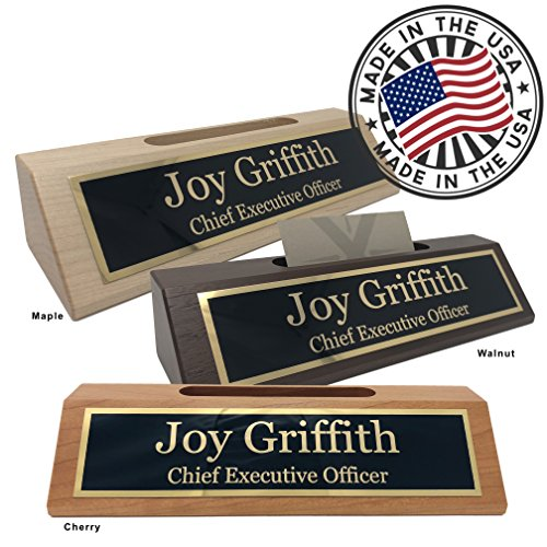 Personalized Desk Plaques - Personalized Business Desk Name Plate with Card Holder - Made in USA (Walnut Wood)